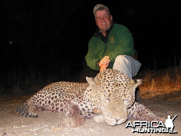 Leopard hunted with Ozondjahe Hunting Safaris in Namibia