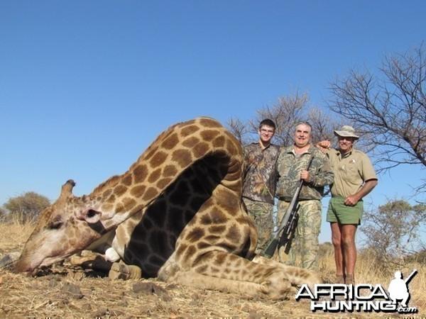 July 2013 John with his Giraffe bull.  Matabeleland