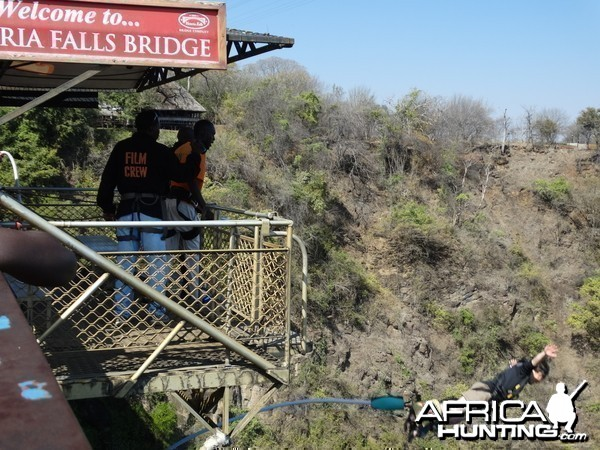 Paul bungee jumping off the Zambezi R bridge