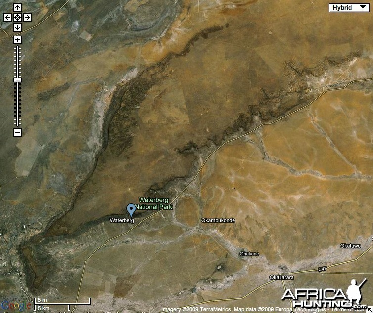 Google Satellite Map of Waterberg Plateau National Park - Namibia
