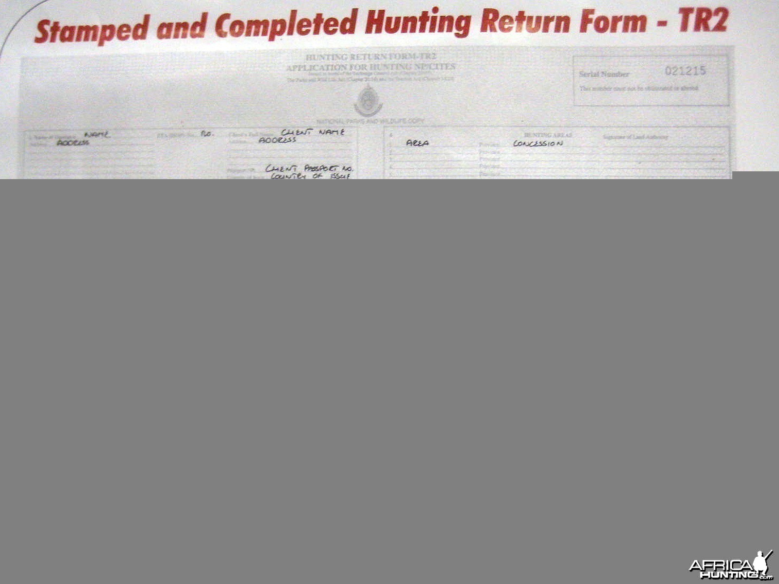 Zimbabwe hunting information hunting completed npcites form 11 tr2 click on images to enlarge falaconquin