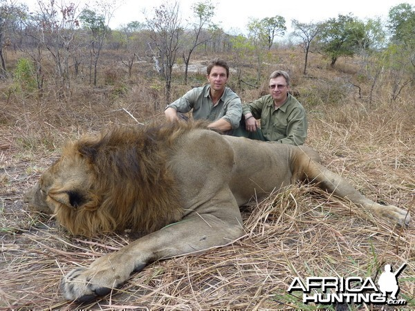 Lion hunting in the Selous, Tanzania