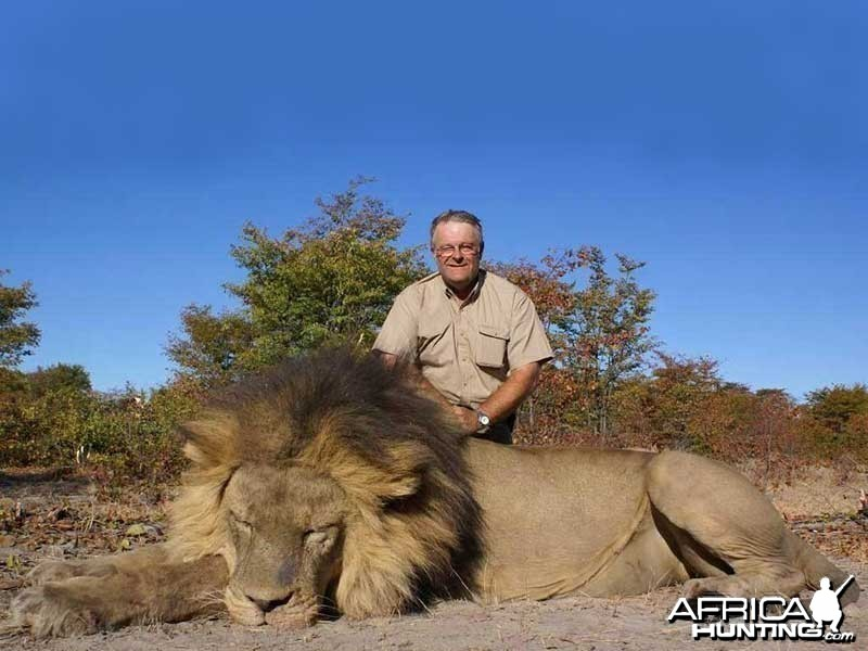 Lion hunted with Johan Calitz Safaris in Botswana