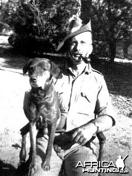 Ken with a mongrel that saved his life, Nipper