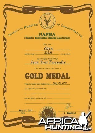 Namibia Professional Hunting Association (NAPHA) Medal Certificate
