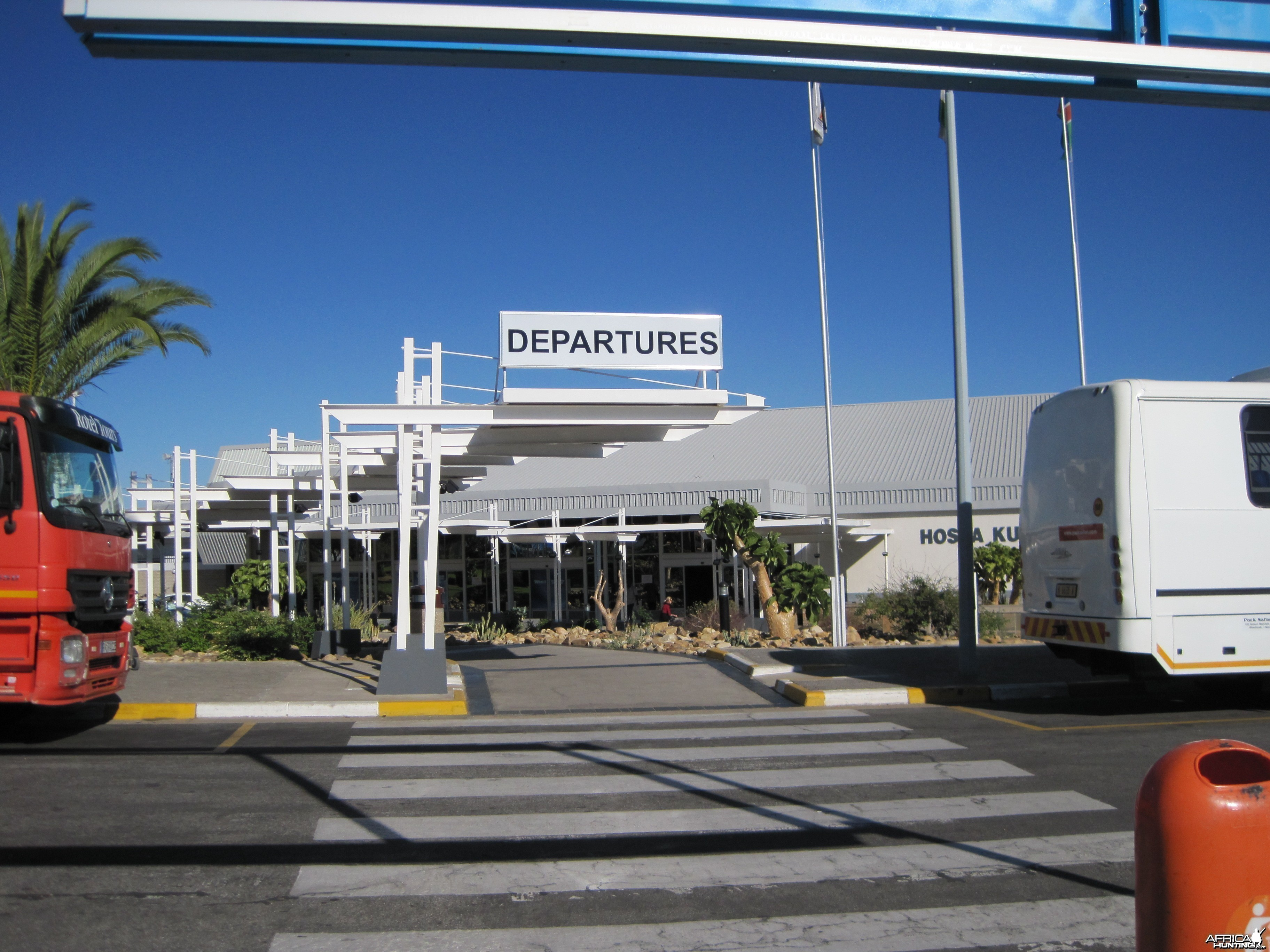 Departures at the International Airport in Windhoek, Namibia