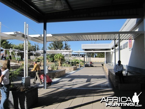 In front of the International Airport in Windhoek, Namibia