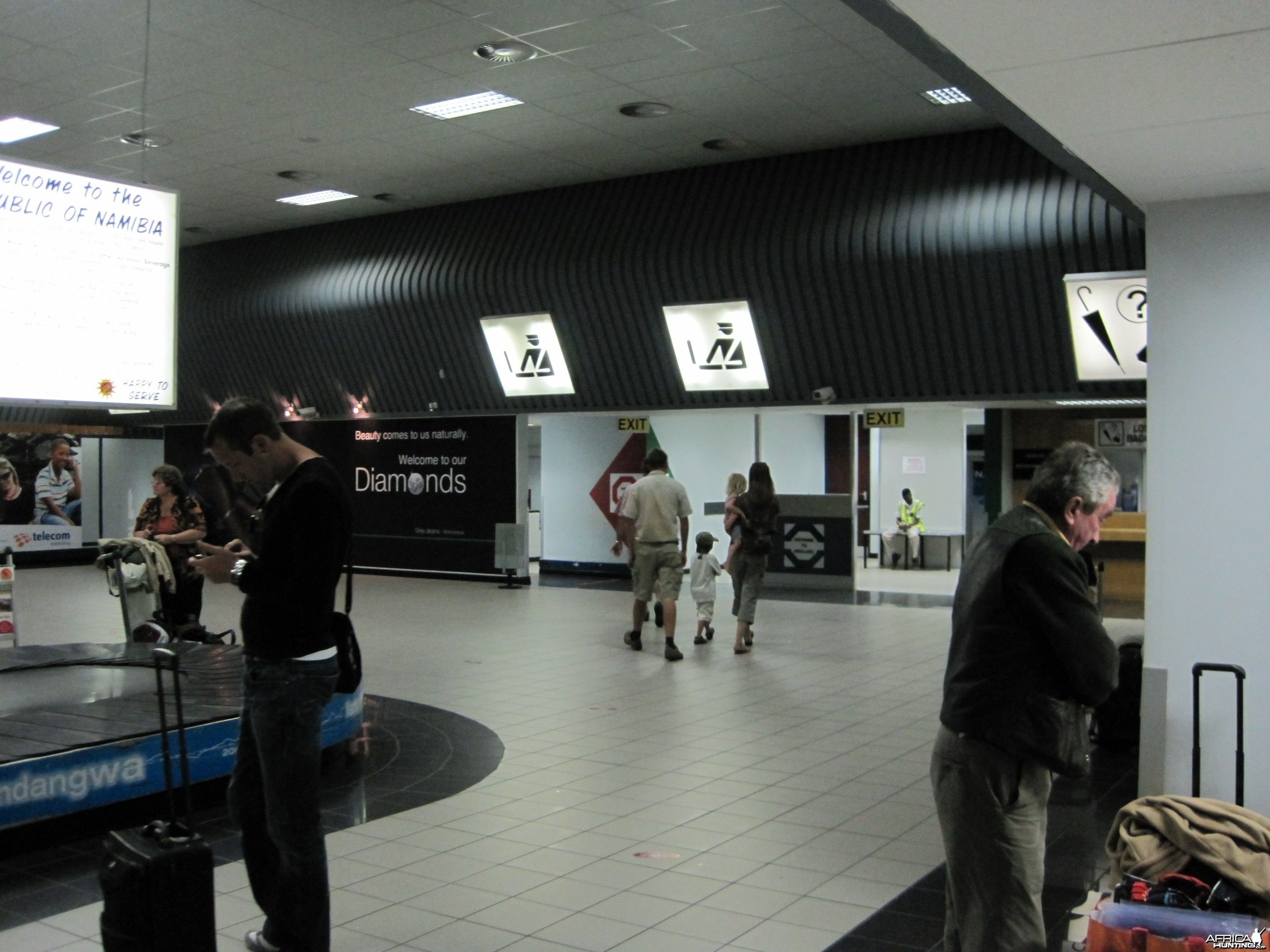 Baggage claim and custom area at the International Airport in Windhoek, Nam