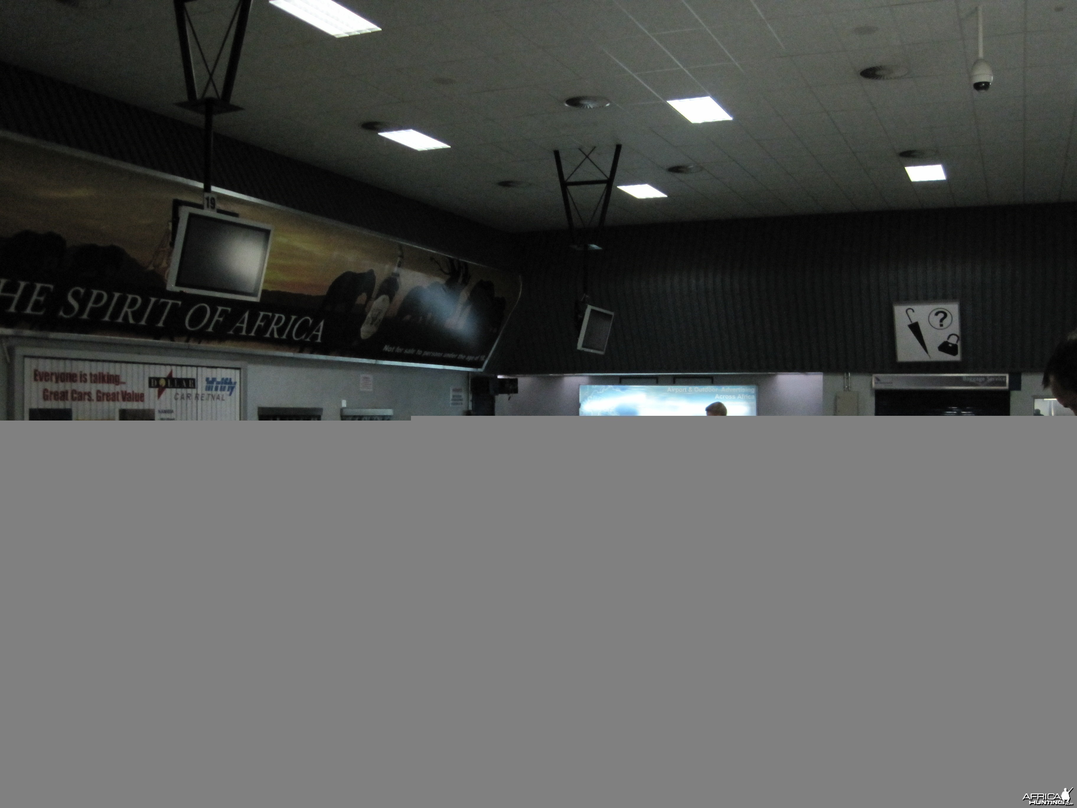 Baggage claim area at the International Airport in Windhoek, Namibia