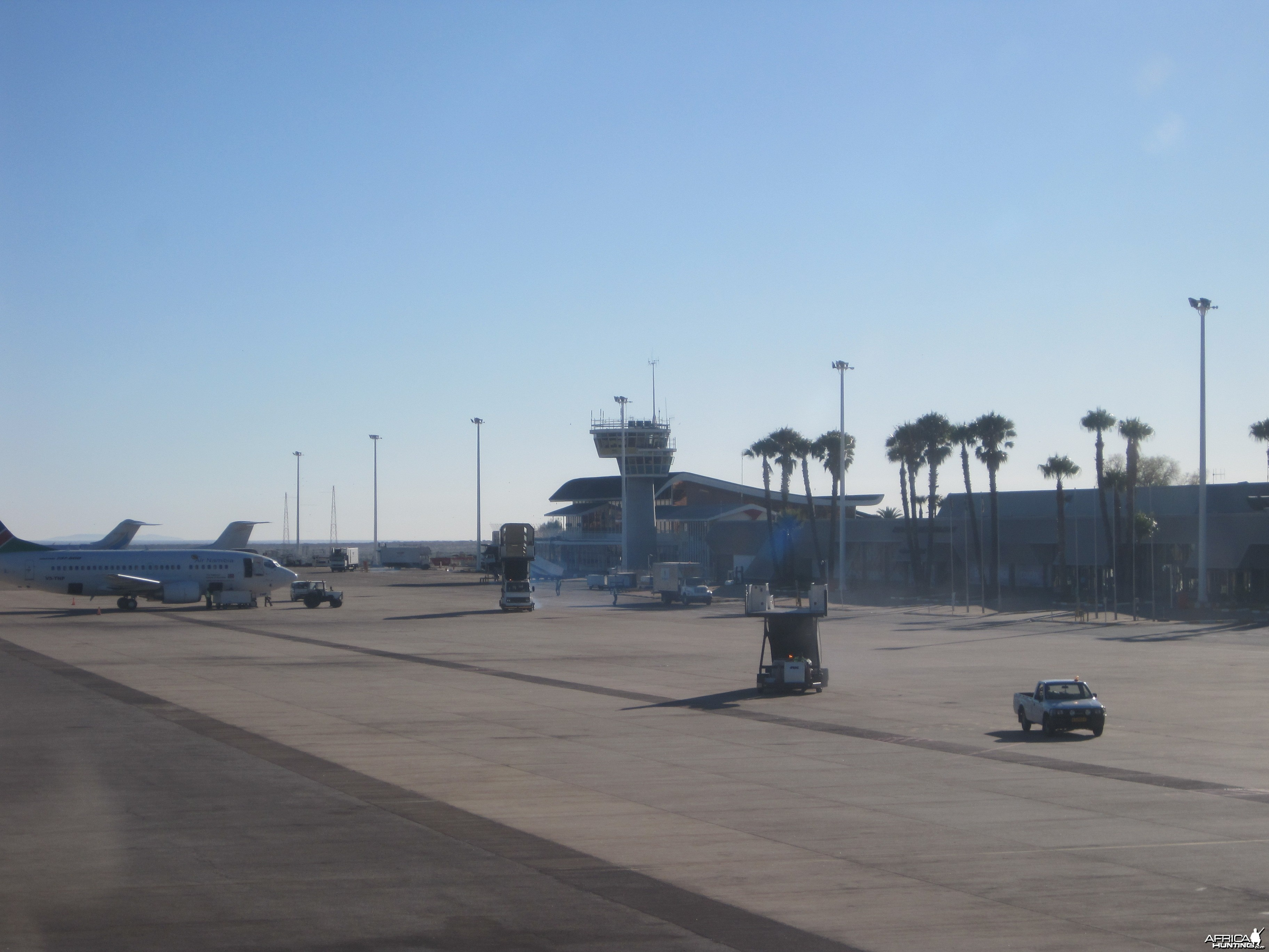 Tarmac arrival at the International Airport in Windhoek, Namibia