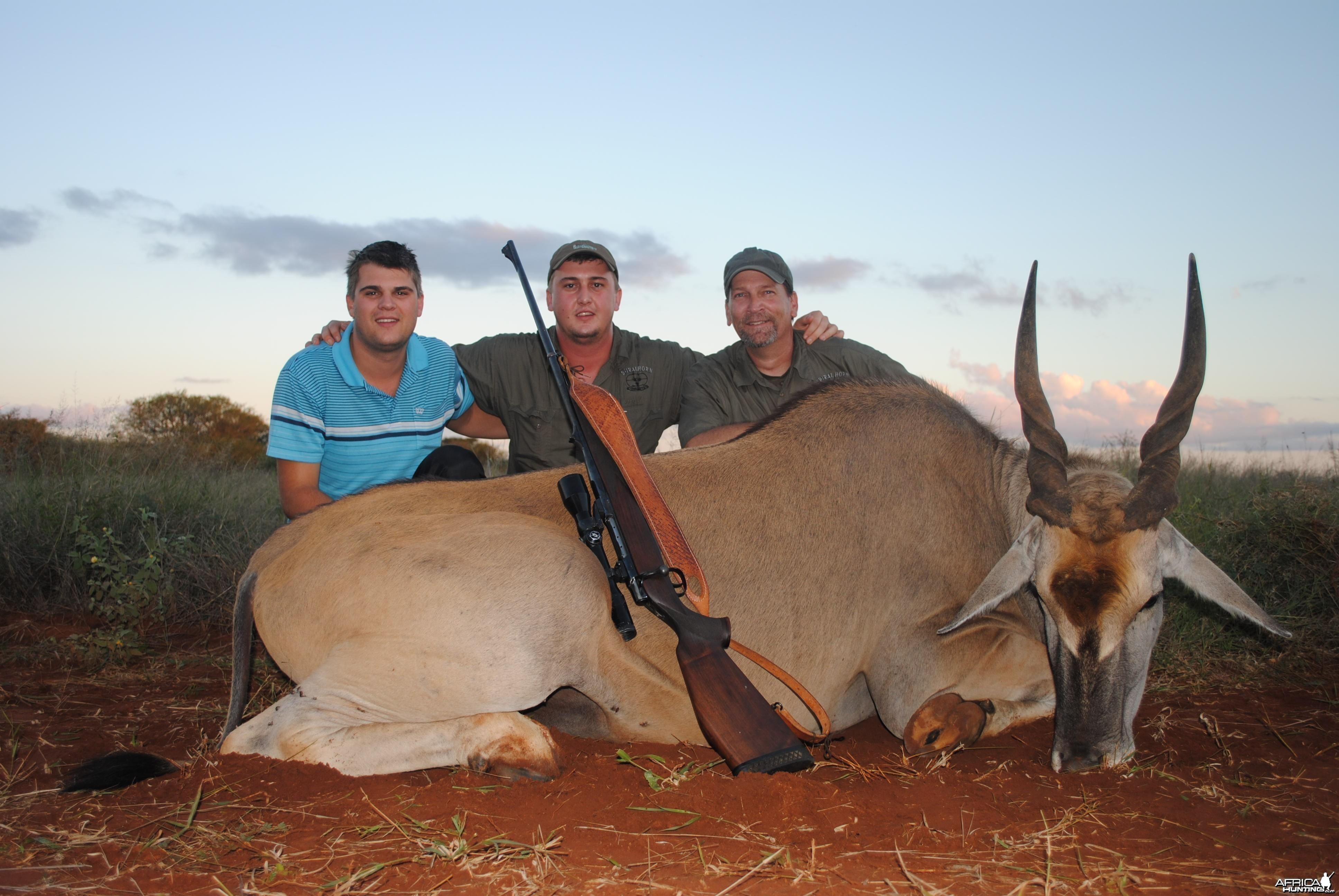 Pieter,Juan, me and Cape Eland bull
