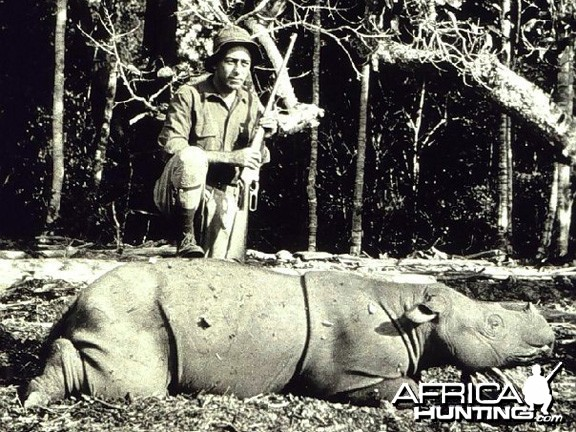 Captain George L. Anderson with a Javan Rhinoceros