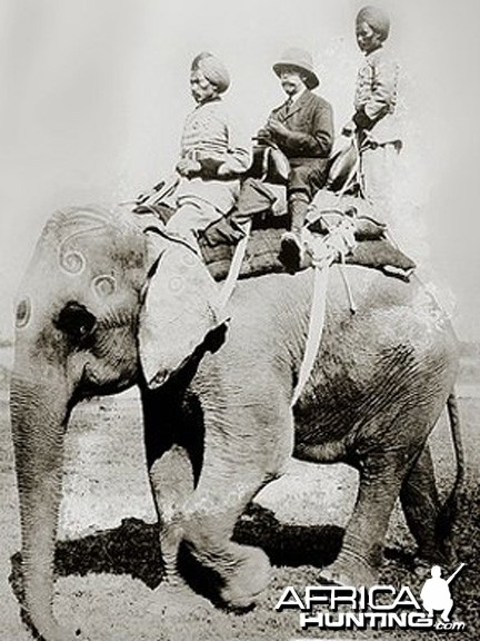 King George V, mounted on Elephant, departing for a shikar