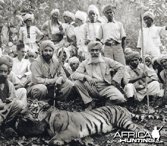 Father and son native Tiger hunt in India 1930s