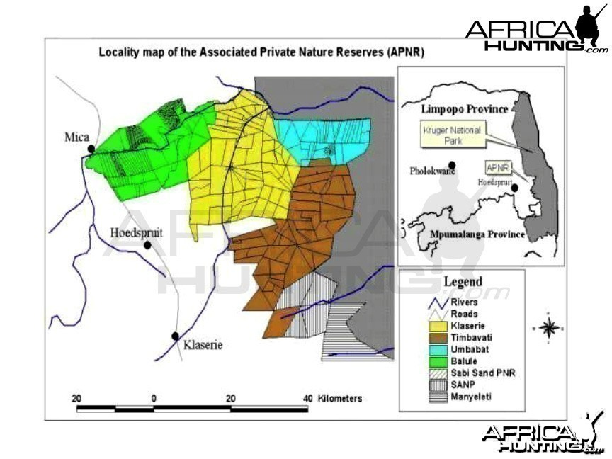 Locality Map of the Associated Private Nature Reserves (APNR)