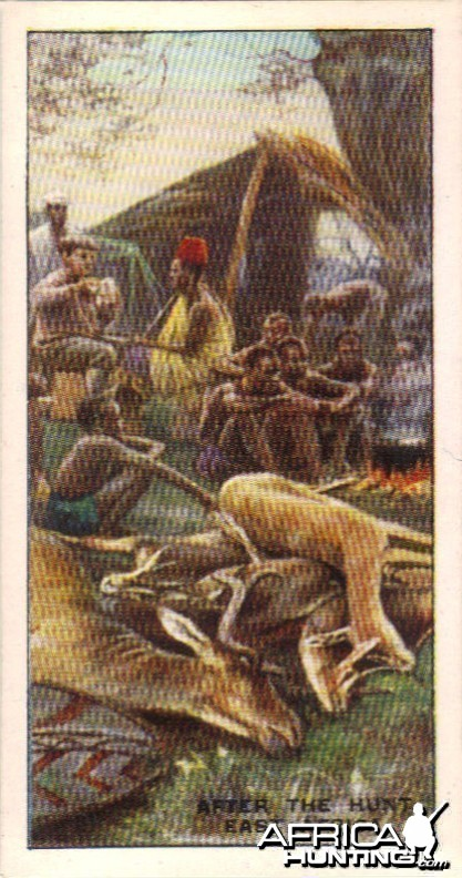 Hunting in Africa tobacco card