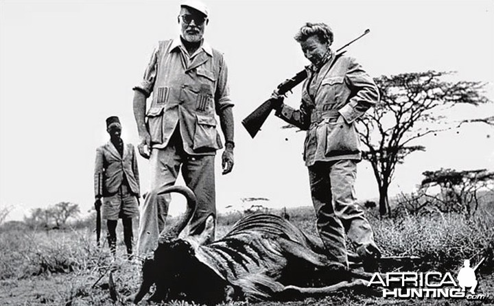 Ernest Hemingway and his wife, Mary, on safari in 1953