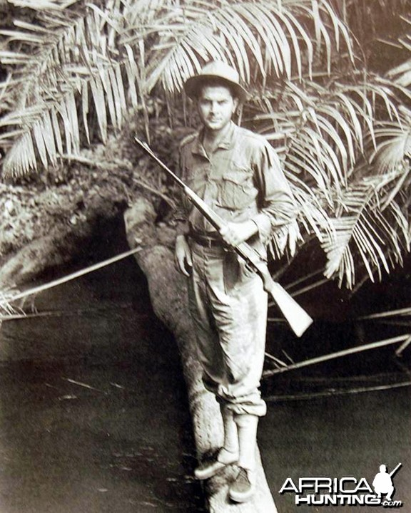 Tony Sanchez-Arino on his first elephant hunt in Gabon, 1952