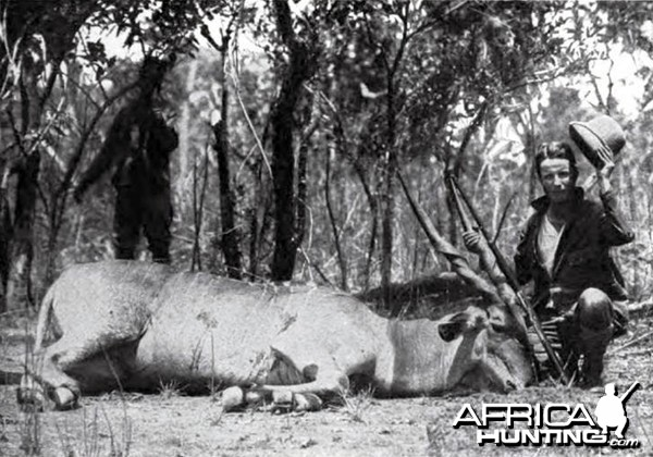 Kermit Roosevelt first giant eland shot on the Redjaf trip