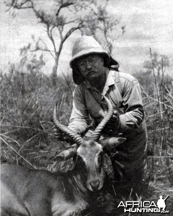 Theodore Roosevelt with kob, shot at rhino camp
