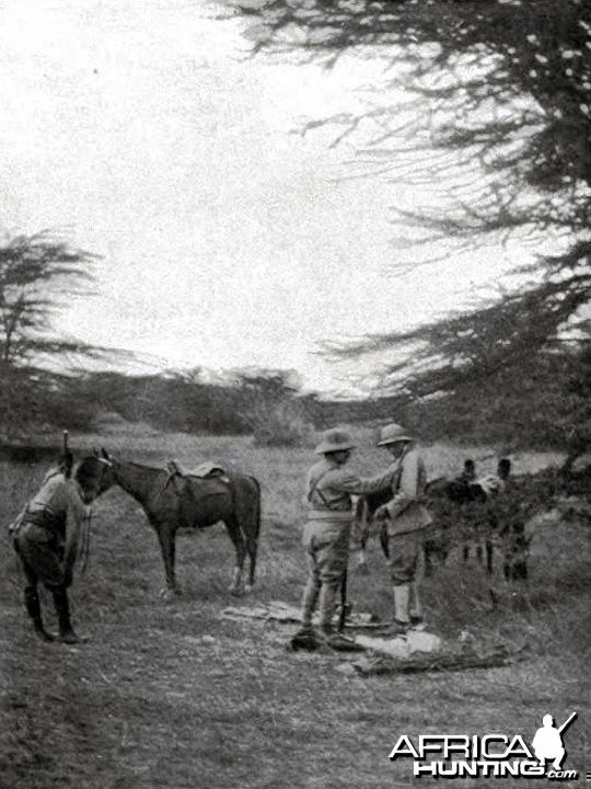 Theodore Roosevelt and Medlicott at the spot for the first day of lion hunt