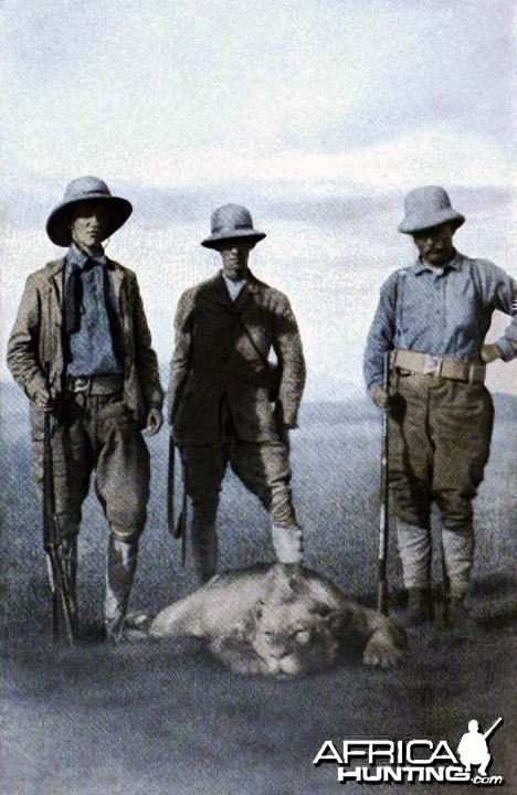 Theodore Roosevelt, Kermit Roosevelt and Sir Alfred Pease at the carcass of
