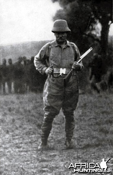 Theodore Roosevelt in Africa in his hunting costume