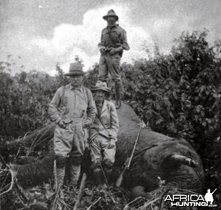 Theodore Roosevelt and bull elephant shot at Meru
