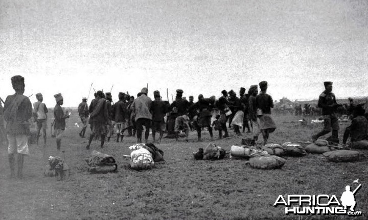 Theodore Roosevelt, porters dancing when breaking camp in Kamiti