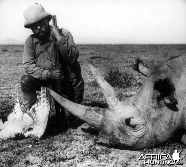 Theodore Roosevelt whith rhino and bustard