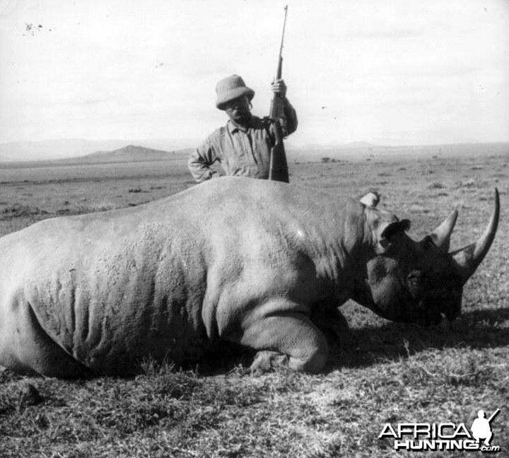 Theodore Roosevelt with black rhino
