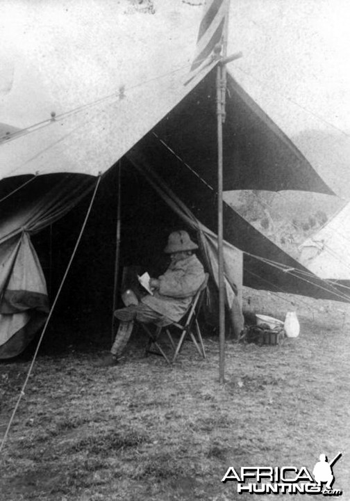 Theodore Roosevelt in front of his tent