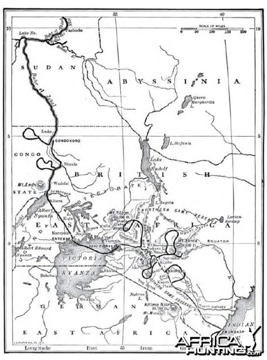 Theodore Roosevelt, map of safari expedition