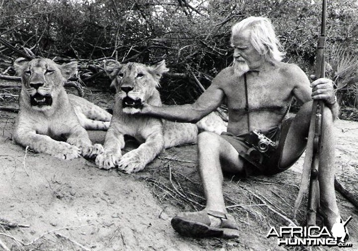 George Adamson with Lions