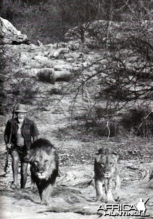 George Adamson with Boy and Christian
