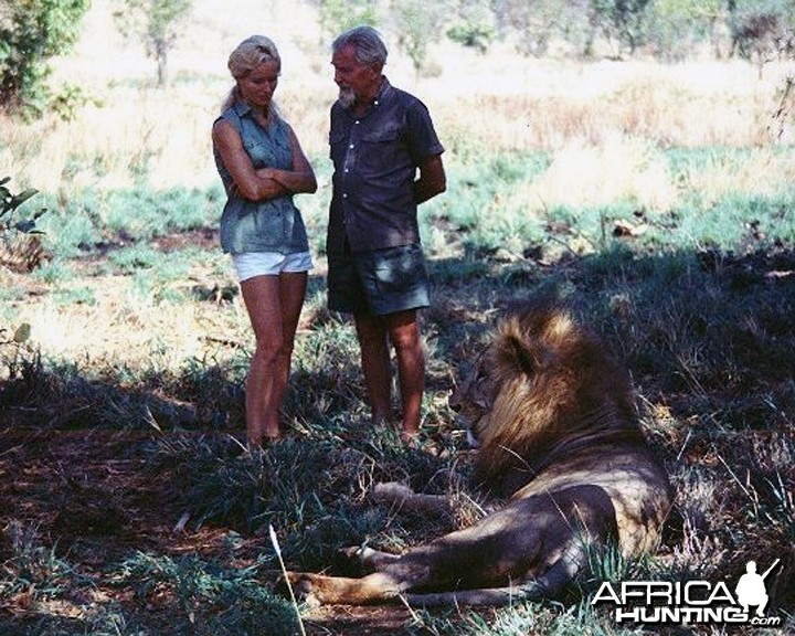 George Adamson, Virginia McKenna and Lion Ugas