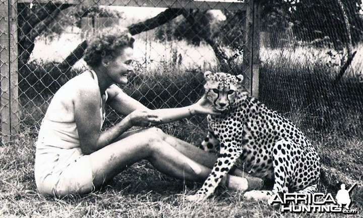 Joy (George Adamson's wife) and Pippa the Cheetah
