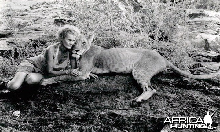 Joy (George Adamson's wife) and Elsa
