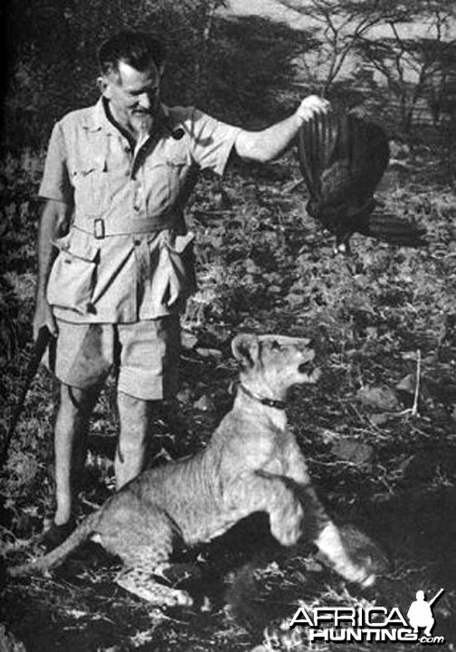 George Adamson and Lion
