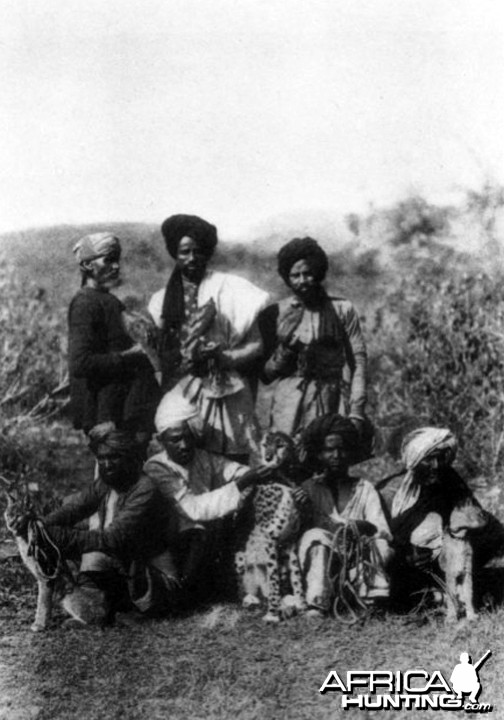 A Hunting Party of Hawks, Two Caracals and a Cheetah, 1920