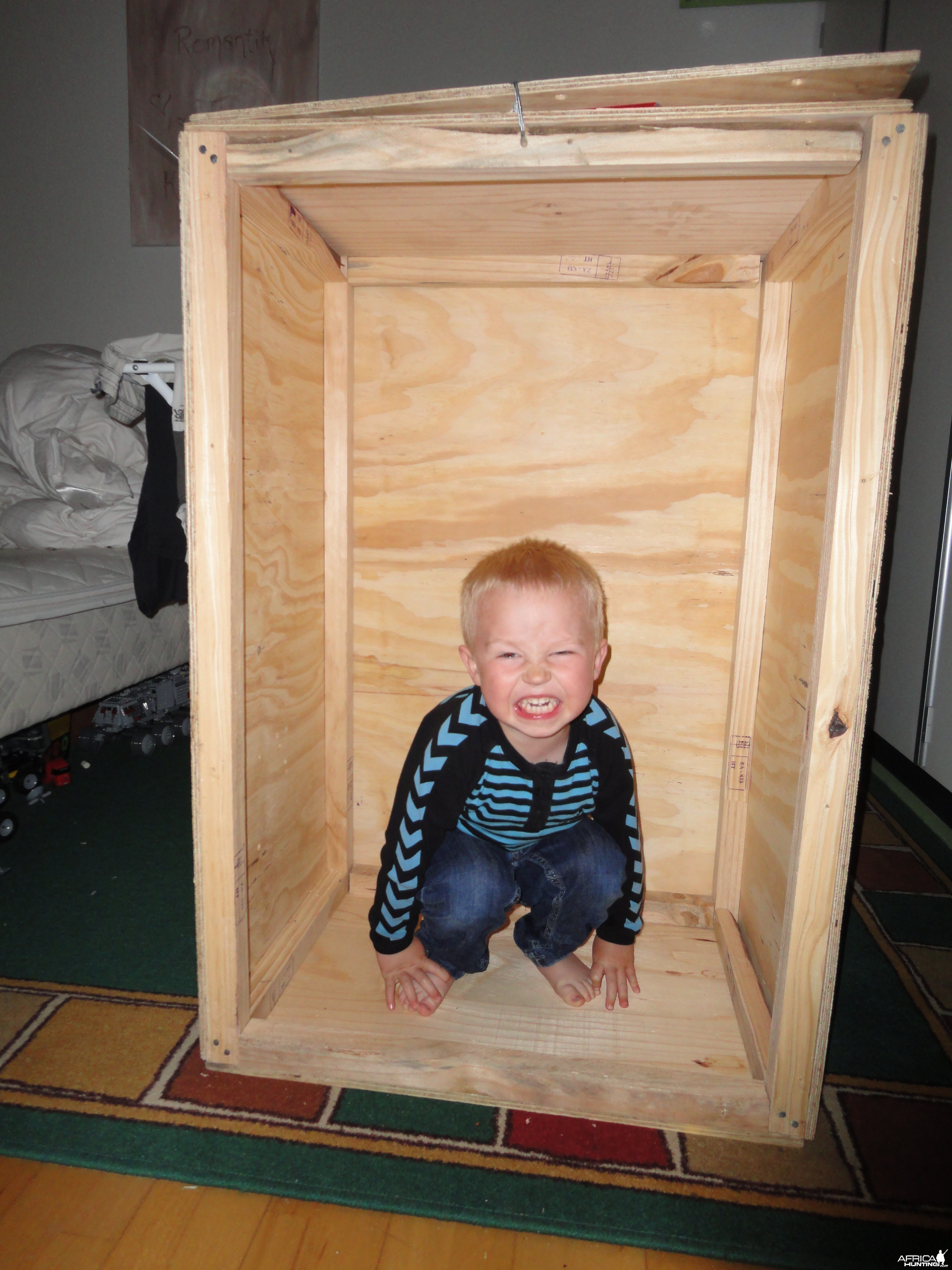 My granson in a trophy crate