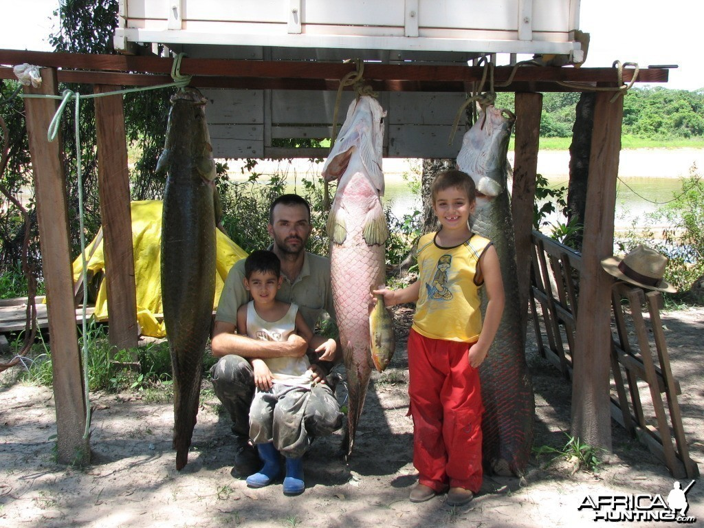 Me and my children after a fishing trip in the river Araguia, Brazil