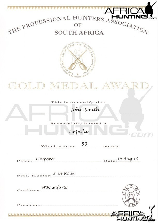 Professional Hunters' Association of South Africa (PHASA) Medal Certificate