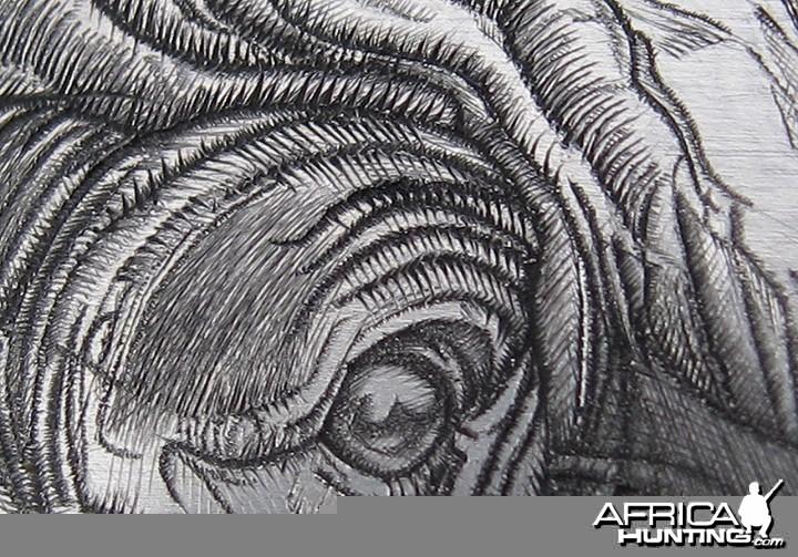 Cape Buffalo Engraving on Double Rifle