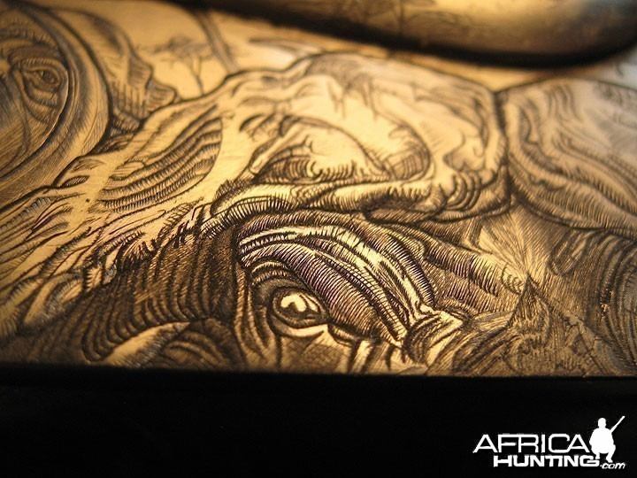 Cape Buffalo Engraving on Double Rifle