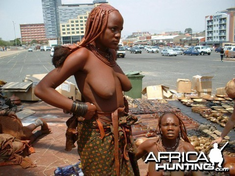 Himba women, shopping in Windhoek, Namibia