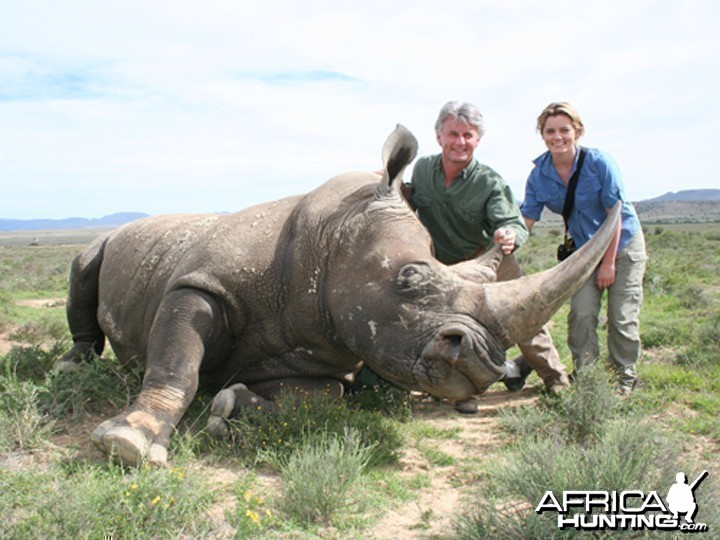Hunter and Writer J. Alain Smith darted White Rhino