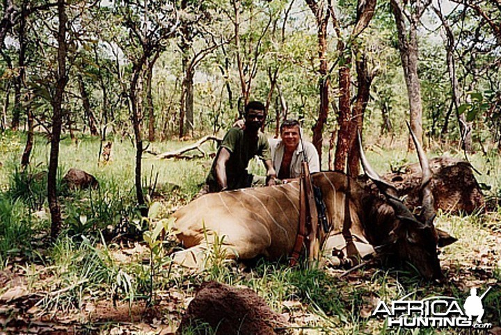 Bela Hidvegi with Lord Derby Eland hunted in CAR