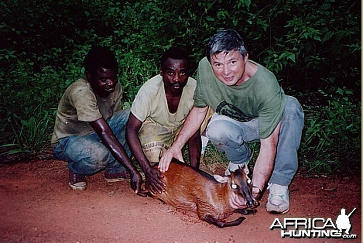 Bela Hidvegi with Bay Duiker hunted in Cameroon