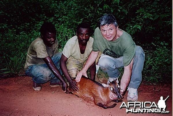 Bela Hidvegi with Bay Duiker hunted in Cameroon